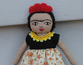 Tiny Frida Doll/ Doll Brooch/ Frida Kahlo Doll/ Miniature Doll