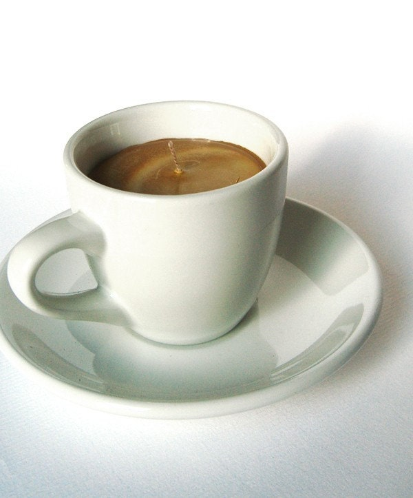Espresso Shot SOY CANDLE Coffee Cup With Saucer Hazelnut