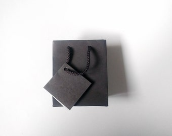 """12 Small Tiny Gift Bags with Tag & Rope Handles - 3"""" x 3.5"""" - Dark Grey/Brown -  gifts, favors, packaging, SO CUTE!"""