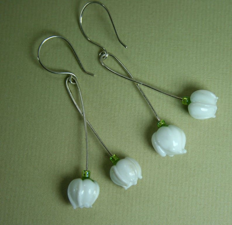 Lily of the Valley Double Blossom Handmade Lampwork Glass Drop Earrings Silver Plate