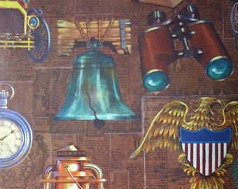 Vintage Wrapping Paper, 2 Full Sheets of Patriotic Gift Wrap for a Man with Golden Eagle, Liberty Bell, Car, Lantern, Watch, Anchor, Globe