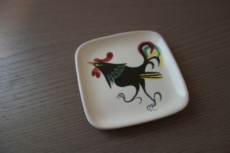 Decorative 10.2 cm Vintage Appetizer Plate for Desserts Square Glidden Ceramic Stoneware Plate with Colorful Midcentury Mod Rooster 4