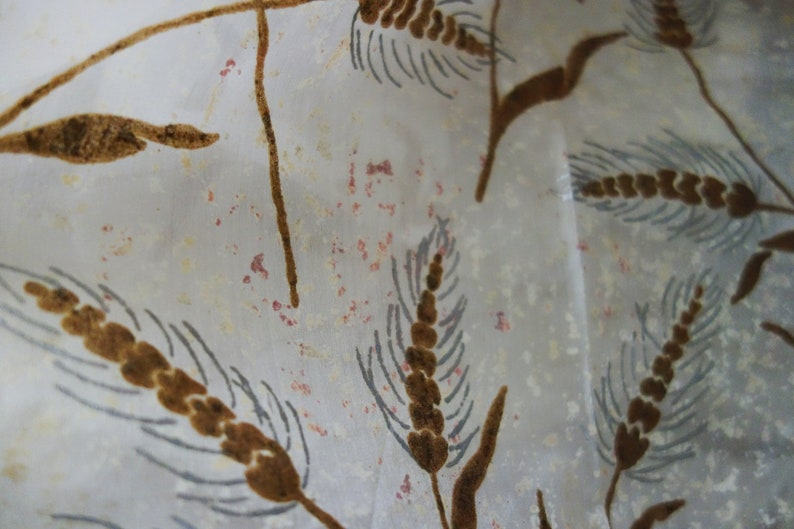 Vintage Taffeta Fabric Cream Colored with BrownMetallic Silver Wheat Design 7 Yards Possibly Painted Silk Please Read Description As Is