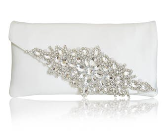 86d440c30540 Diamante and ivory satin bridal wedding clutch purse HARRIET
