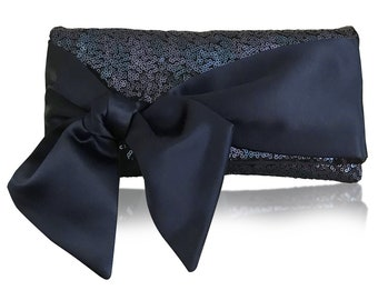 Navy or black sequin HOPE clutch purse, bridesmaids, mother of the bride
