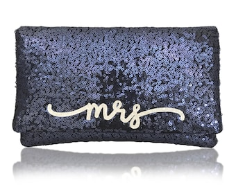 MRS sequin clutch purse handbag flourish font