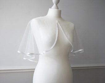 Ivory or white tulle bridal bolero shrug cape with satin trim SHERBORNE