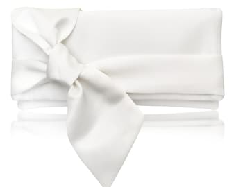 Ivory satin bow PIPER clutch purse, bridesmaids, mother of the bride