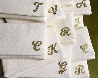 Bridesmaids clutches - set of ivory sequin initial personalized gifts