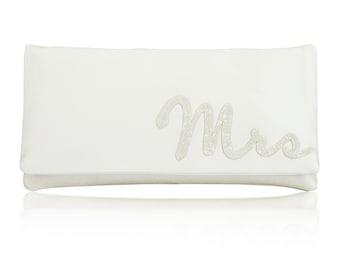 MRS wedding day bridal clutch purse