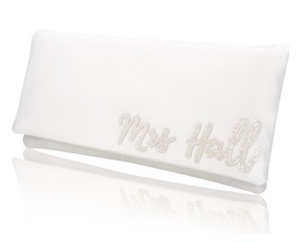 MRS surname bridal ivory clutch purse for wedding day