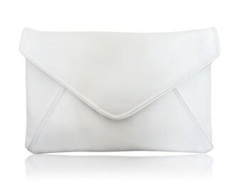 Ivory satin bridal envelope clutch handbag purse for wedding KATERINA
