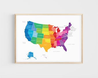 Map of the United States of America | Map of USA | 13x19, 17x22 | Giclée | Educational Print