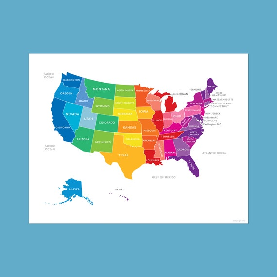 Map of the United States, USA Map in Bright Colors