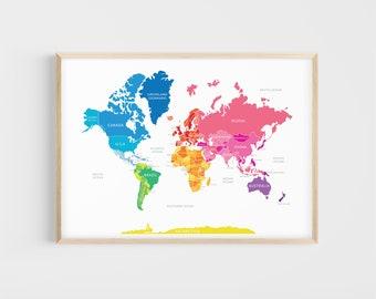 World Map | Rainbow Map | 13x19, 17x22 | Giclée | Educational Print