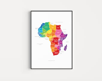 Map of Africa | African Continent Print | 13x19, 17x22 | Giclée | Educational Print