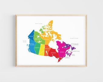 Map of Canada | Canadian Provinces | 13x19, 17x22 | Giclée | Educational Print