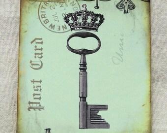 Skeleton Key Postcard Gift or Scrapbook Tags or Magnet #119