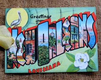 New orleans etsy greetings from new orleans louisiana large letter souvenir postcard gift or scrapbook tags or magnet g 9 m4hsunfo
