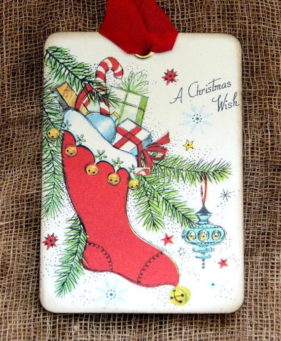 Hang Tags  RETRO CHRISTMAS STOCKING TAGS or MAGNET #542  Gift Tags