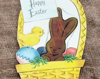 Retro Easter Basket With Chocolate Bunny & Eggs Easter Gift Tags #288