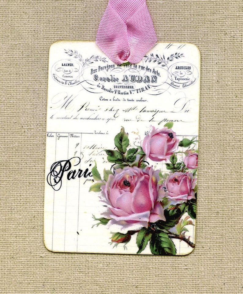9273e3331e13 French Paris Rose Gift or Scrapbook Tags or Magnet 295