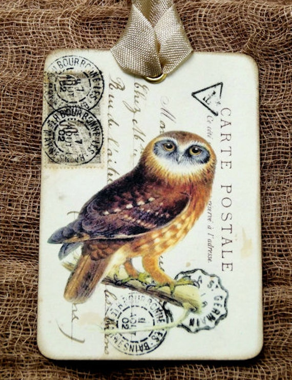 Hang Tags  FRENCH OWL POSTCARD TAGS or MAGNET #704  Gift Tags