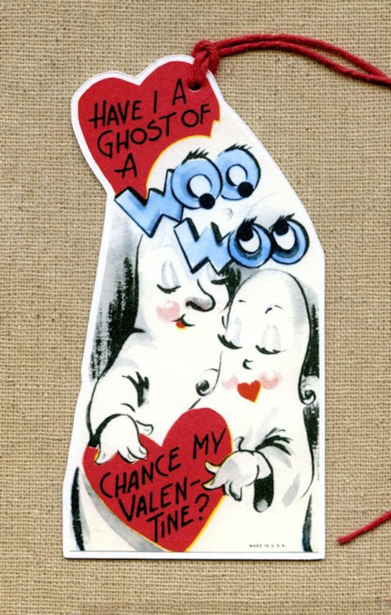 Retro Have I A Ghost Of A Chance Valentines Day Gift or Scrapbook Tags #534