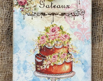 French Decorated Cake Gateaux Gift or Scrapbook Tags or Magnet #424