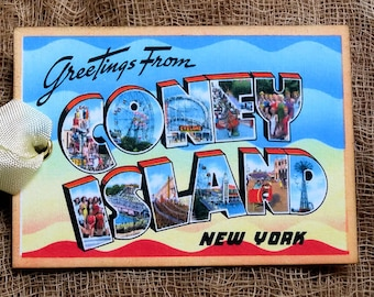 Greetings from the grand canyon vintage postcard image instant greetings from coney island new york large letter souvenir postcard gift or scrapbook tags or magnet g 8 m4hsunfo