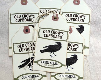 Primitive Black Crow Cornmeal Feedsack Gift or Scrapbook Tags #1222