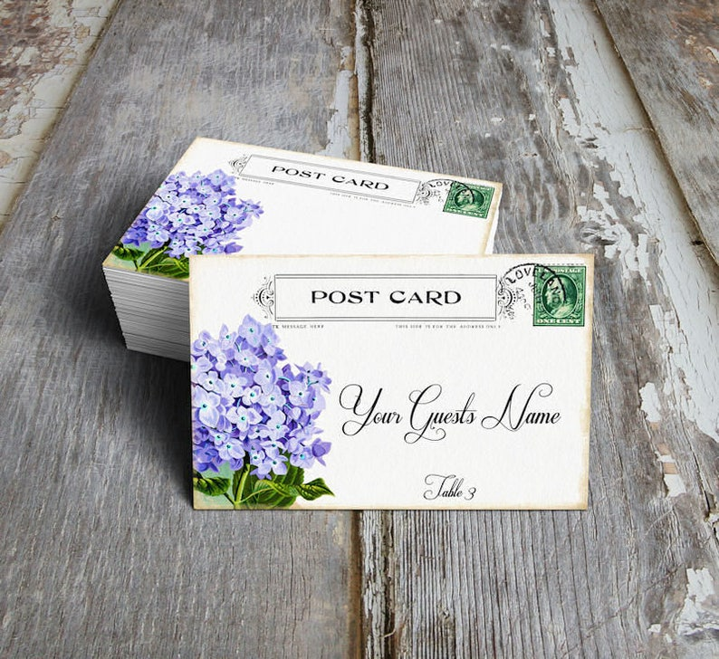 Wedding Place Cards Vintage Hydrangea Flower Postcard Table Place Cards Escort Cards or Tags #603