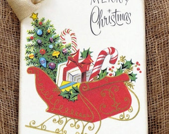 Retro Merry Christmas Santa Sleigh Fill With Presents Gift or Scrapbook Tags or Magnet #577