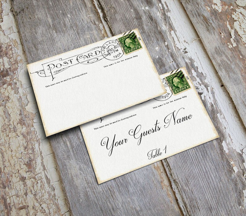 Wedding Place Cards Vintage Postcard Table Place Cards Escort Cards or Tags #122