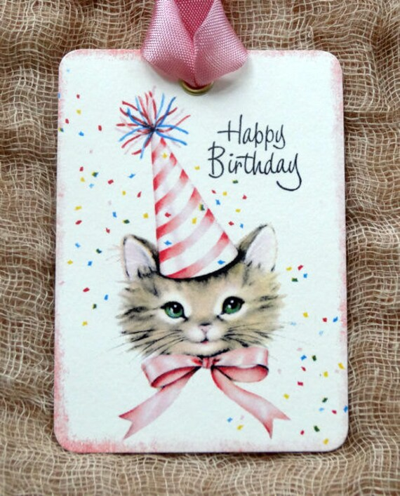 Retro Happy Birthday Kitty Cat In Party Hat Gift Or