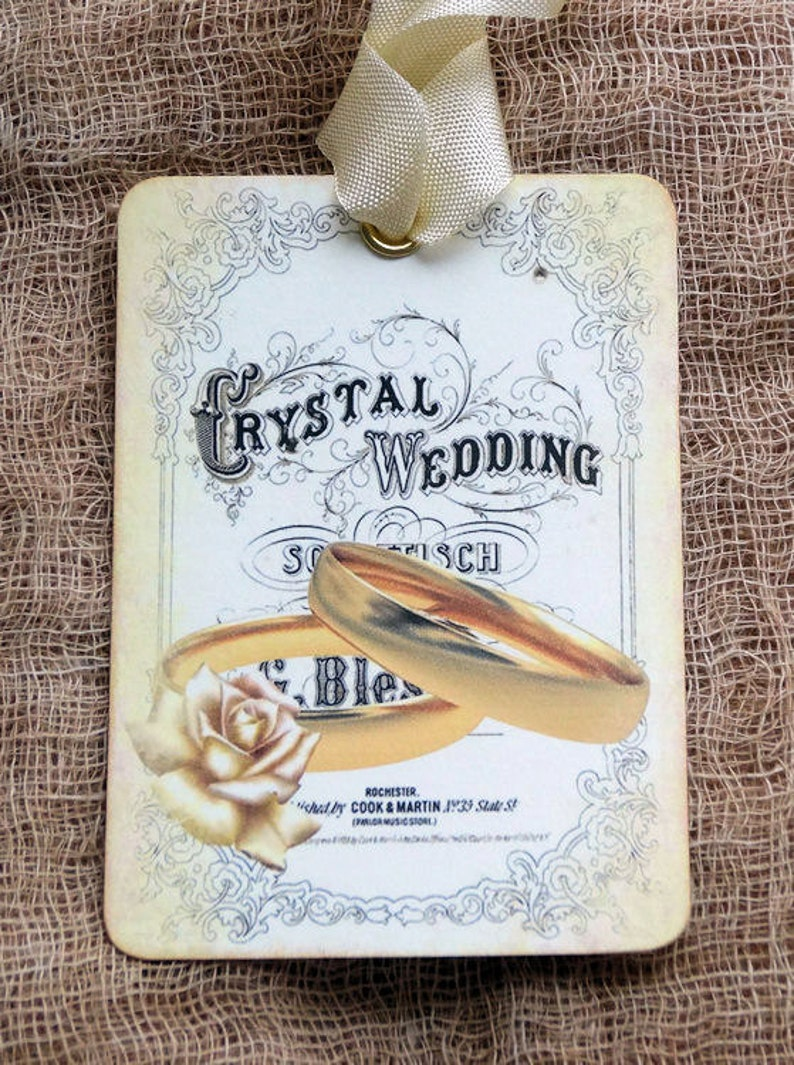 Victorian Wedding Rings Wedding Favor Shower Wish Gift or Scrapbook Tags or Magnet #241