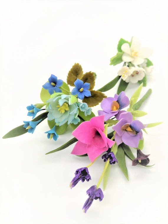 Dollhouse Miniature Artificial Clay Iris Flowers Handcraft Plants Bouquets Decor