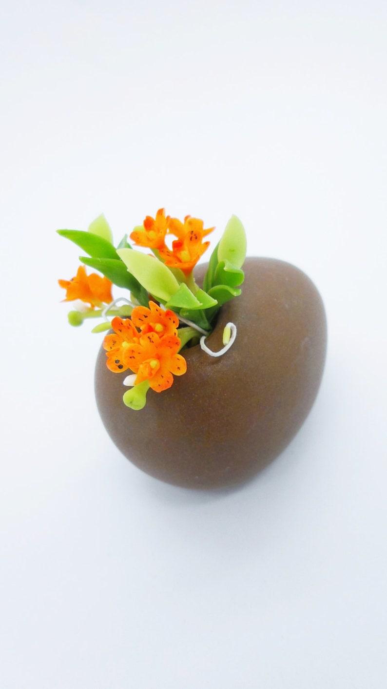 Happy Orange Miniature Polymer Clay Supplies Handmade Orchid 1 piece