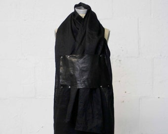 Spring, black linen & leather scarf, Unique Scarves, Fashion Accessories, Cool, Gifts, artlab brooklyn