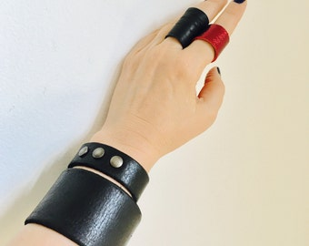 Black Leather Jewelry Wristband, Goth Dark Fashion, Cuff Armbands