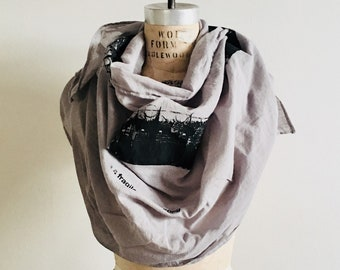 Gray Poetry Scarf, ee cummings, romantic gifts, text, printed scarves, edgy accessories, fashion, artlab brooklyn