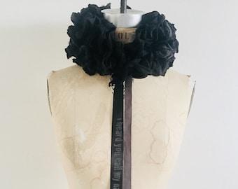 Cartwheel Ruff, Corsage, Bouquets, Wedding, Romantic , Goth, Poetry, text, womenswear, Unique, ruffles, flowers, Neck piece