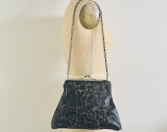 Sample Sale, black distressed leather handbag silver chain shoulder strap, edgy purse, pouch, bags