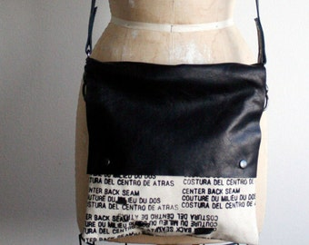 cross-body bag, black leather, printed canvas, edgy bag, artist