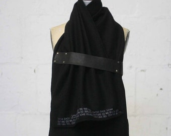 Black Wool Scarf , Winter Accessories, leather scarf, text print scarf,  Gifts for her, Fashion