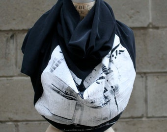 Black Silk Scarf, Industrial Print, Autumn Scarves/Large Scarves