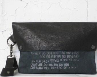077 Clutch Handbags, Black Leather Pouch, printed canvas bags , wristlet clutch