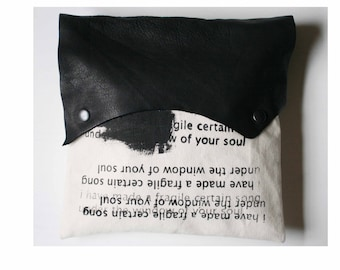 Handbag, Clutch, e.e. cummings Poetry Bag, Black Leather, Gifts, Purse, canvas Pouch, Romantic