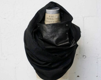 noir linen and leather scarf