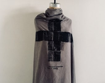 Cell. Large Gray Cotton Scarf, Poetry, Screenprint, Soft, Unisex, Text, Edgy, artlab brooklyn, Fashion Accessories